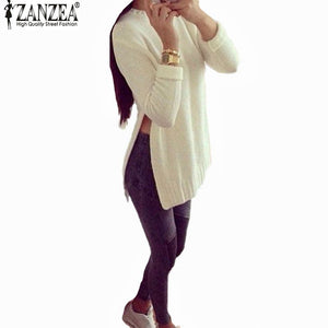 Blusas Autumn Women Long Sleeve O-Neck Side Slit Knitted Pullover-iuly.com