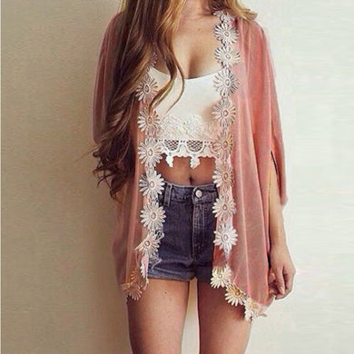 Cardigan Women Casual Sweet Floral Crochet Knitted Blouse Half-Sleeve-iuly.com
