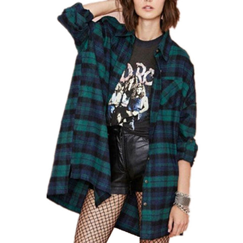 Autumn Shirts Women Casual Loose Blouse Classic Plaid Long Sleeve Tops-iuly.com