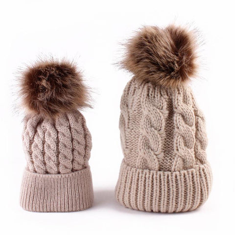 2Pcs Winter Mom And Daughter Matching Knitted Beanie Cap Keep Warm Faux-iuly.com
