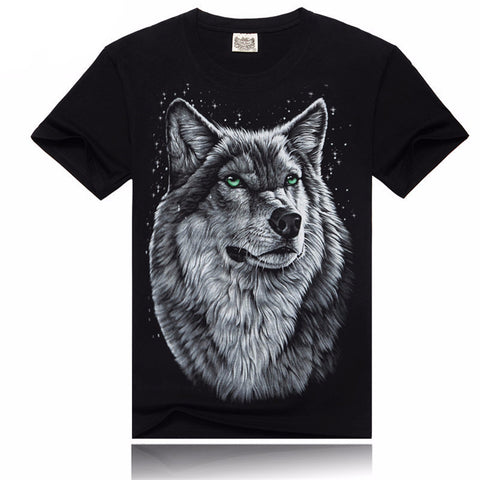 3D T Shirt Women/Men Cotton Tops Tee Wolf Skull Printed Swag Short Sle-iuly.com