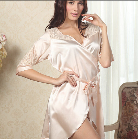 Nightwear Women Luxury Lace Deep V Winter Faux Silk Satin Sleepwear Ro-iuly.com