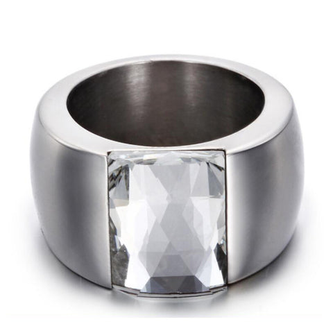Stainless Steel Crystal Ring Female Titanium Wedding Ring Women-iuly.com