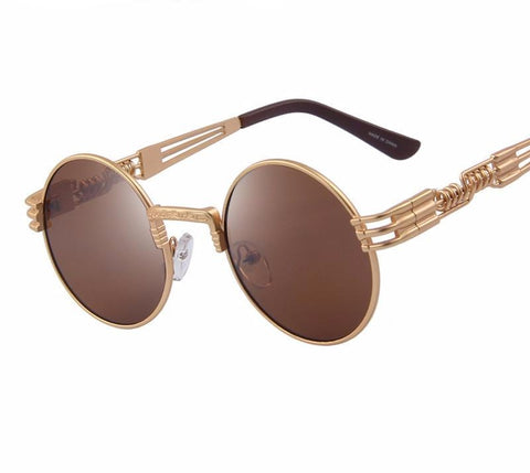 Women Steampunk Sunglasses Men Retro Round Sunglasses Metal Sun Glasses Men-iuly.com