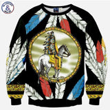 3D Sweatshirt Men Tracksuits Tops Funny Print Feather Indigenous Riding Horse-iuly.com