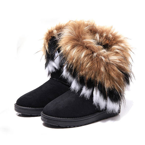 Women Winter Warm Mid-Calf Boots Winter Ladies Snow Boots Flock Leather Women-iuly.com