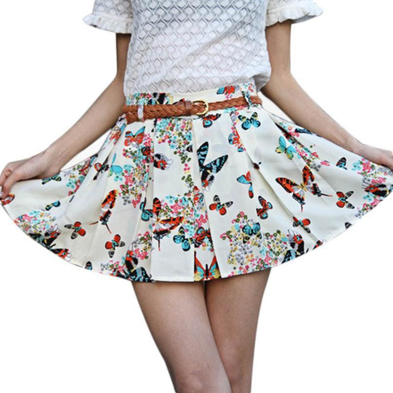 Jecksion Casual Summer Style Skirt Chiffon Mini Flower Skirt Shorts Y4-iuly.com