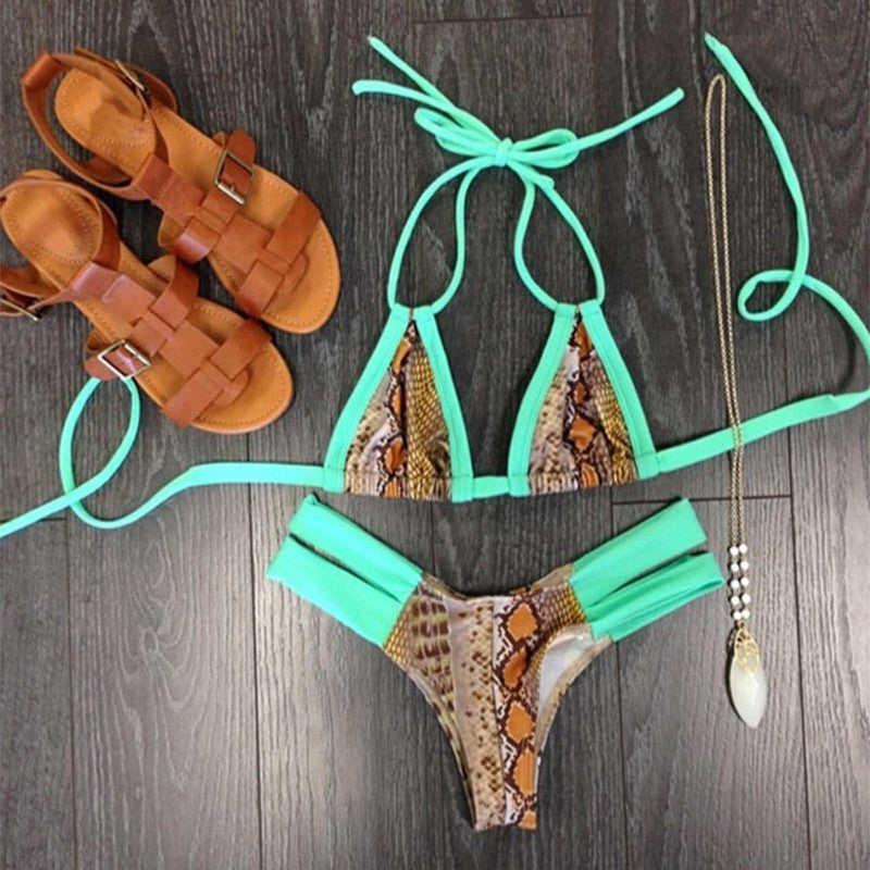 Women'S Clothing,Women Strappy Print Beach Swimwears,Bandage Monokini-iuly.com
