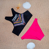 Owlprincess Triangle Bikini Retro Ethnic Print Strap Neck Crop Top Pus-iuly.com