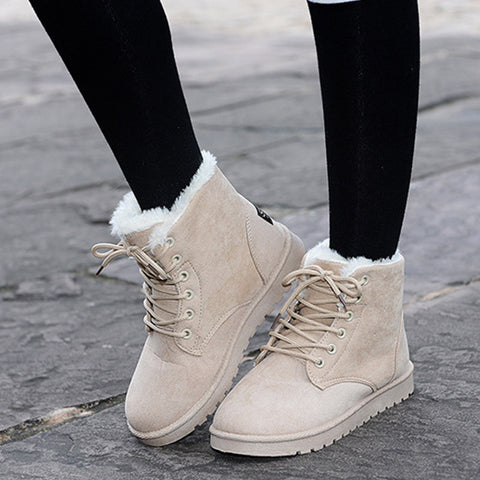 Winter Women Snow Boots Style Solid Color Female Ankle Boots For Women Shoes-iuly.com