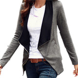 Autumn Style Slim Turn Down Lapel Collar Coat Side Zipper Jacke-iuly.com