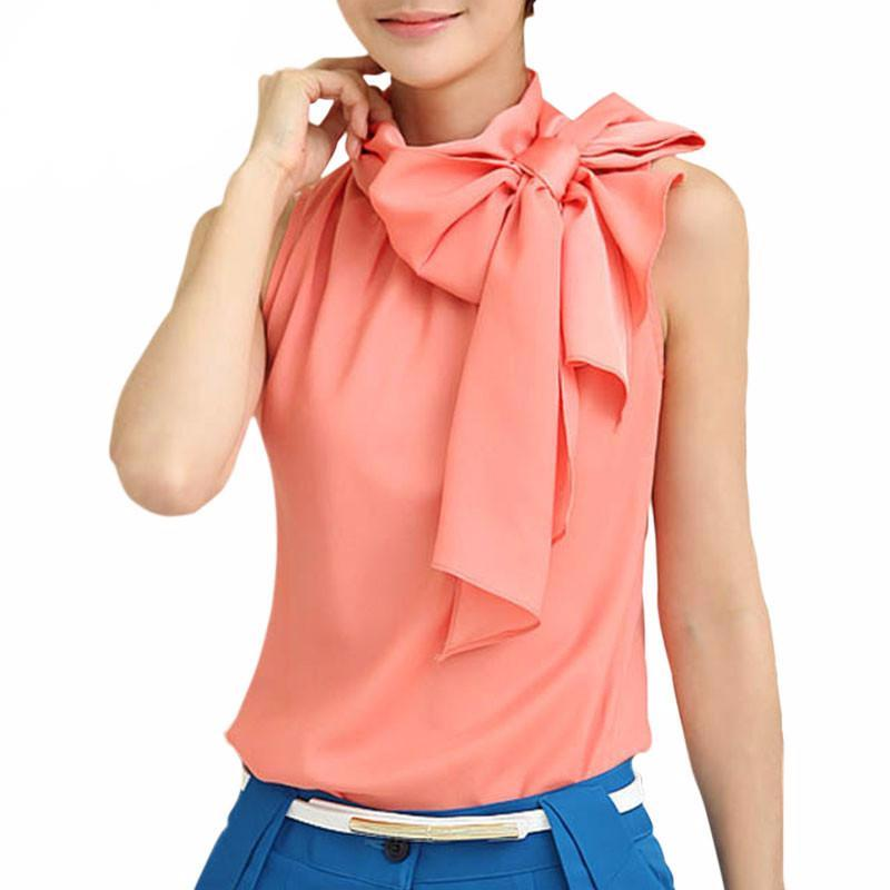 Blouse Spring Summer Women Casual Chiffon Sleeveless Bow-Collar Blouse-iuly.com