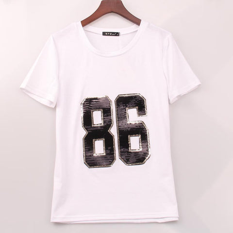 2 Colors T Shirt Women 86 Sequined Sequins T-Shirt Women Casual Rock S-iuly.com