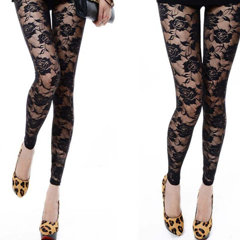 Fashion 2 Color Choice Sexy Women Lady Rose Lace Through Leggings Pants Foo-iuly.com