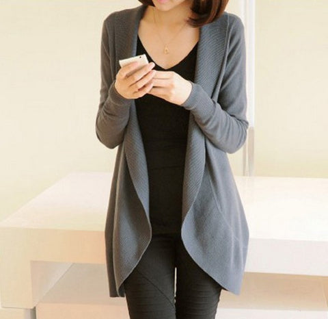 Autumn Winter Women Long Sleeve Knitted Sweater Casual Solid Scarf Col-iuly.com