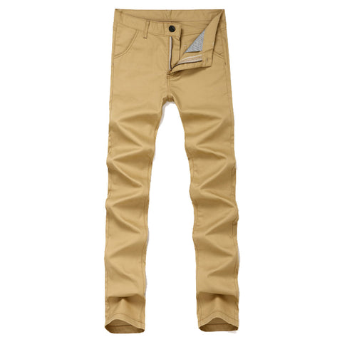 Slim Fit Casual Khaki Pants Men Flat Front Straight-Fit Army Green Long-iuly.com