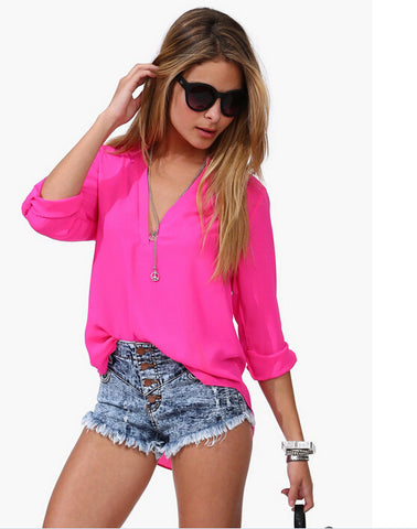 5675 Summer Style Women Blouses Casual Loose Chiffon Blouse Three Quar-iuly.com