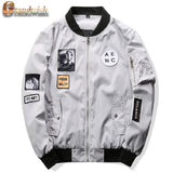 Men Bomber Jacket Hip Hop Patch Designs Slim Fit Pilot Bomber Jacket Coat Men-iuly.com