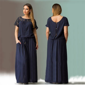 Elegent Women Cozy Summer Short Sleeve Long Evening Party Prom Maxi Dress Summer-iuly.com
