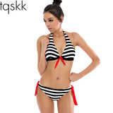 Bikinis Women Swimwear Plaid Stripe Halter Top Push Up Swimsuits Female Summer-iuly.com