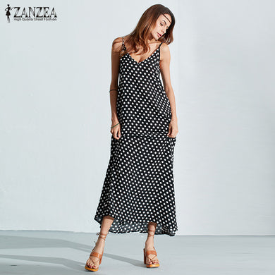 6 Colors Dress Summer Women Strapless Polka Dot Casual Loose Long Maxi Dress-iuly.com