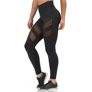Athleisure Leggings For Women Mesh Splice Fitness Leggins Slim Black Legging-iuly.com