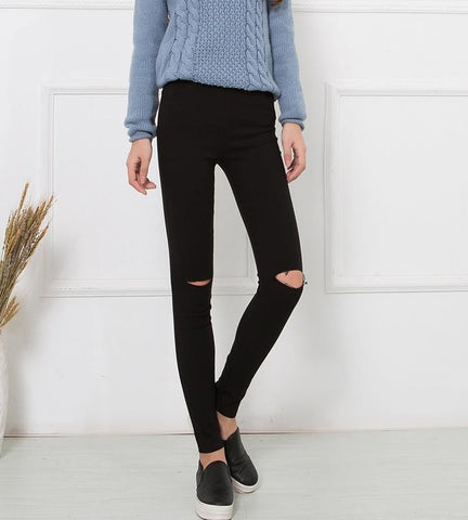 Elastic Cotton Women'S Black Waist Torn Jeans Ripped Hole Knee Skinny-iuly.com