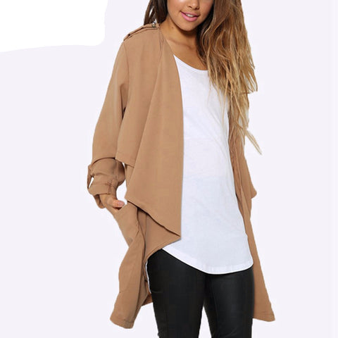 3 Color Women Autumn Spring Long Sleeve Jacket Coat Solid Pocket Cardi-iuly.com