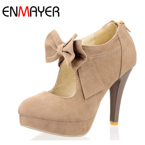 Round Toe Style Vintage Retro Style Woman Small Bow Platform Pumps Lady'S Sexy-iuly.com