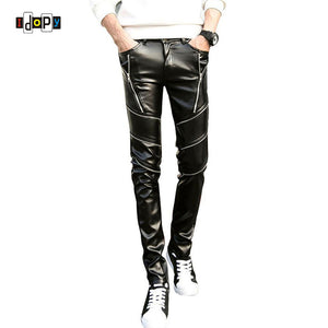 Dj Swag Skinny Mens Faux Leather Pu Tight Black Joggers Biker Pants For-iuly.com