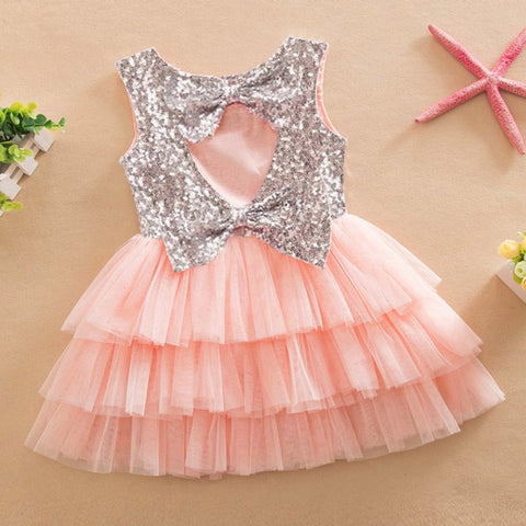 Infant Baby Girls Sequined Bow Dress Kids Wedding Party Dresses Children Clothing-iuly.com