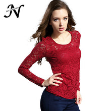 Load image into Gallery viewer, Female Lace Blouse Crochet Lace Tops Long Sleeve Shirts Women Blouses-iuly.com
