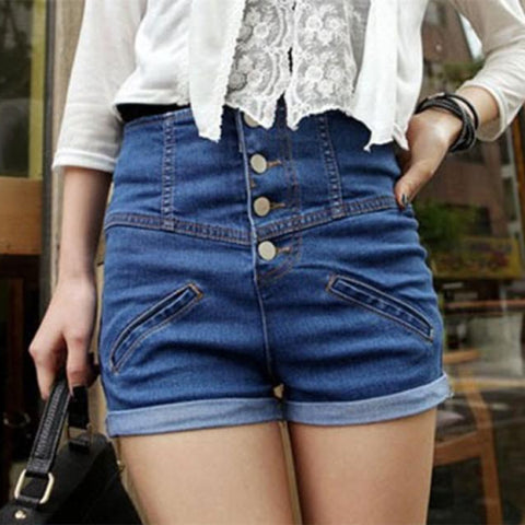 Creative Single-Breasted Female Tidal Slim Curling Waist Denim Shorts-iuly.com