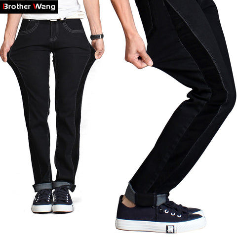 Men'S Jeans Corduroy Stitching Micro-Stretch Male Jeans Plus Size Blac-iuly.com