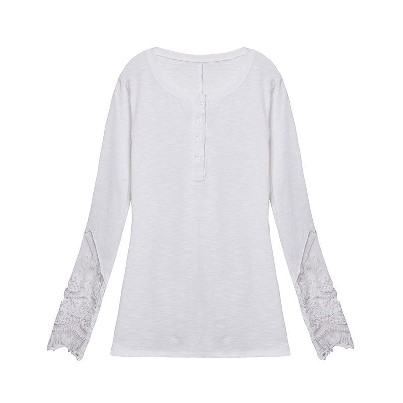 Blusas Women Lace Shirt Spring Autumn Long Sleeve O-Neck Casual Slim B-iuly.com