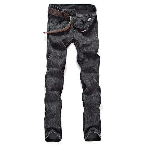 Spring Autumn Men Black Skinny Jeans Fashion Slim Fit Snowflake Cowboy-iuly.com