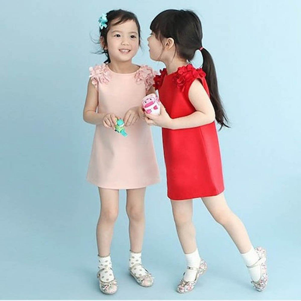 Baby Kid Girls Summer Sleeveless Flower Shoulder Princess Dress Girl Clothes-iuly.com