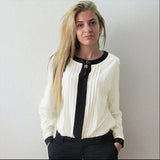 Feitong Women Casual Loose Chiffon Pleated Blouse Patchwork Office Ol-iuly.com