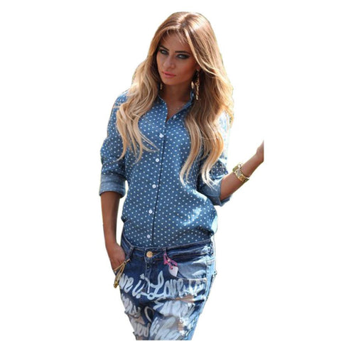 Autumn Style Blusas Clothing Club Denim Blouses Long Sleeve Women Jean-iuly.com