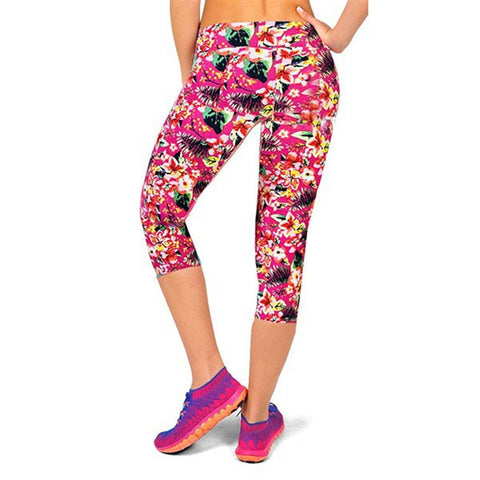 Women Capris Pants Waisted Floral Printed Pants Fitness Leggings Workout Pa-iuly.com