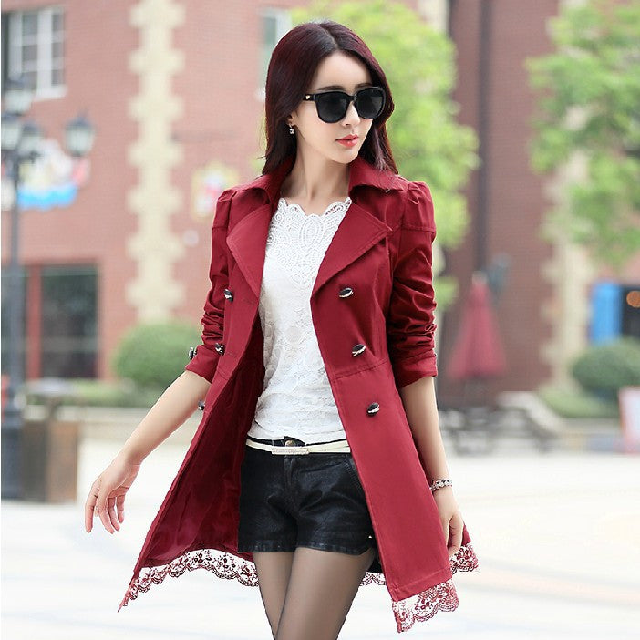 Female Spring Slim Trench Coat / Women'S Lace Lap Style Solid Colour D-iuly.com