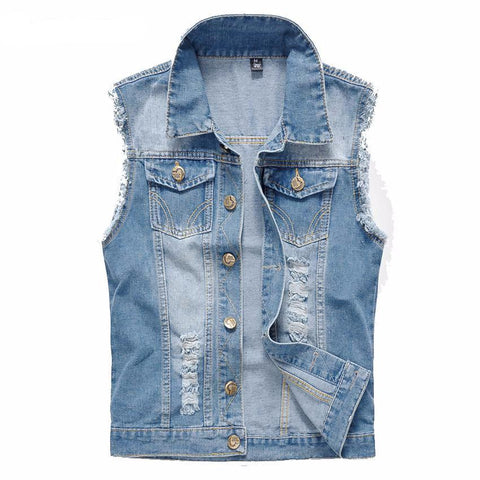 Men'S Denim Vest Vintage Sleeveless Washed Jeans Waistcoat Man Cowboy Ripped-iuly.com