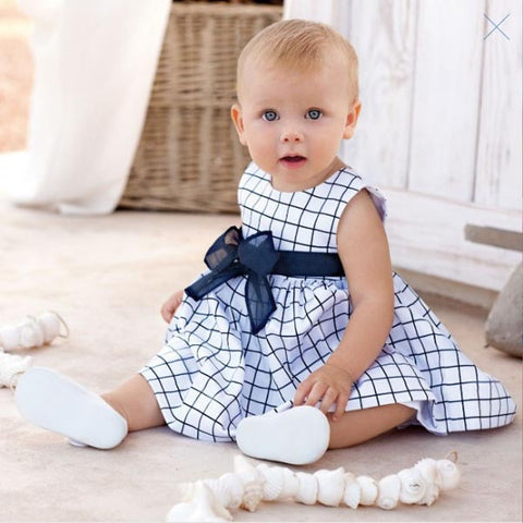 0-3Y Baby Toddler Top Cute Bow-Knot Plaids Dress Kid Girl Cotton Outfit Clo-iuly.com