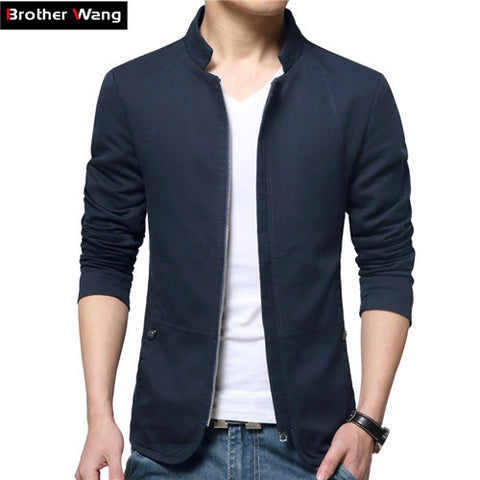 Broter White Jacket Men 'S Fashion Collar Slim Casual Jacket Cotton Washed Men-iuly.com