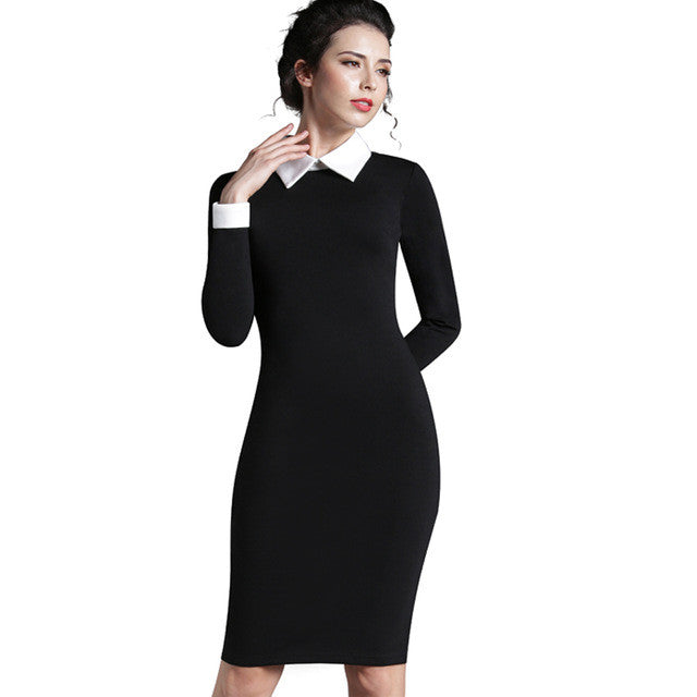 Nice-Forever Career Women Autumn Turn-Down Collar Fit Work Dress Vintage Elegant-iuly.com