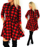 Explosions Leisure Vintage Dresses Autumn Fall Women Plaid Check Print Spring-iuly.com