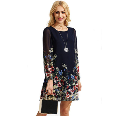 Casual Boho Autumn Dresses For Women Multicolor Round Neck Long Sleeve Floral-iuly.com