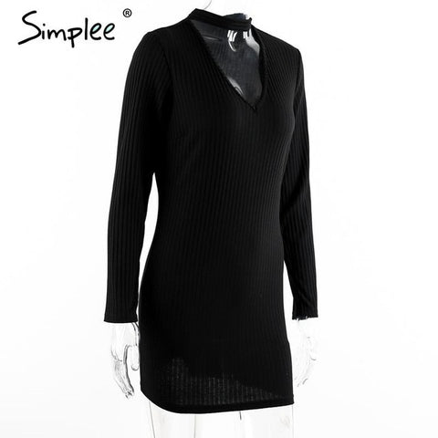 Apparel Autumn Sexy Halter Knitted Dress Women Winter Elegant Bodycon Dress-iuly.com