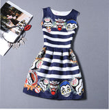 Women Printed Flower Dress Sleeveless Knee Length One Piece Dress Casual Slim-iuly.com