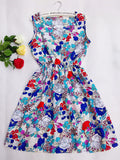 Blue Stars 20 Colors Women Sleeveless Florals Print Round Neck Dress Saias Femininas-iuly.com